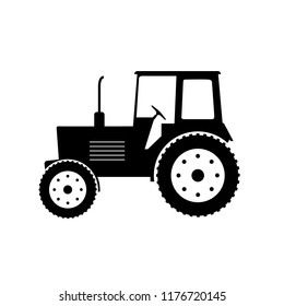 Tractor icon silhouette, logo on white background
