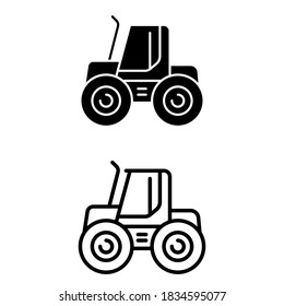 Tractor icon vector set. agriculture illustration sign collection. vehicle symbol.