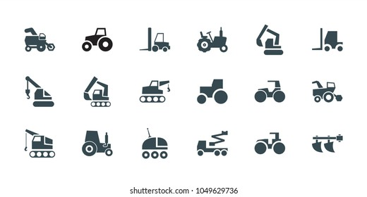 Tractor icons. set of 18 editable filled tractor icons: tractor, excavator