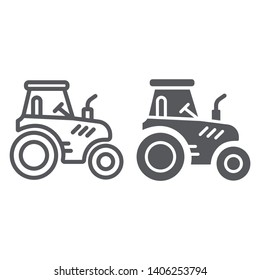 Tractor line and glyph icon, transportation and agriculture, harvest machine sign, vector graphics, a linear pattern on a white background, eps 10.