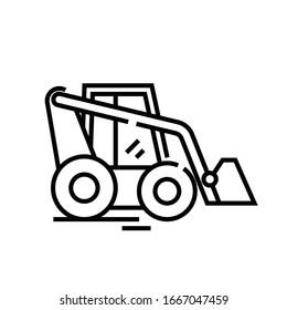 Traktorliniensymbol, Concept-Zeichen, Umriss-Vektorillustration, Linearsymbol.