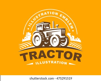 Tractor logo illustration on orange background