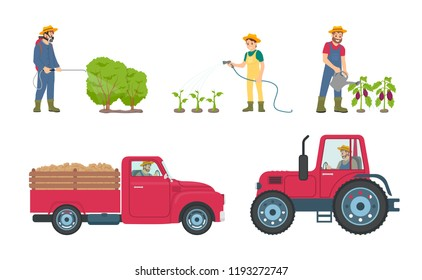 Tractor and lorry with load transporting vehicle. Man with sprayer and woman with watering hose by plantation of vegetables. Aubergine care vector
