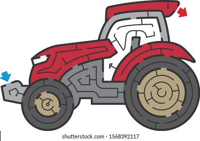 Tractor maze. It is suitable for brain training.