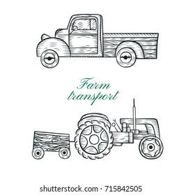 Tractor and pickup truck.Vintage farm logo. Engraved car. Vector illustration