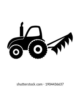 Tractor with plow icon. Black silhouette. Side view. Vector flat graphic illustration. The isolated object on a white background. Isolate.