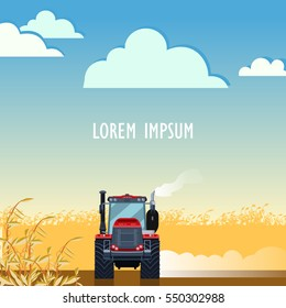Tractor plowing field in autumn. Agriculture Farming and Rural landscape background. Elements for info graphic, websites.