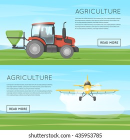Tractor pours fertilizer. Flying yellow plane spraying agricultural chemicals pesticide. Vehicles. Harvesting. Flat design vector.