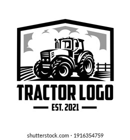 Tractor in the ranch logo vector isolated. Tractor ready made logo vector EPS