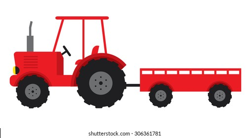 tractor red and trailer