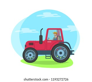 Tractor riding on green grass road. Agricultural machine vehicle for transportation of goods and cultivation. Husbandry farming lands isolated vector