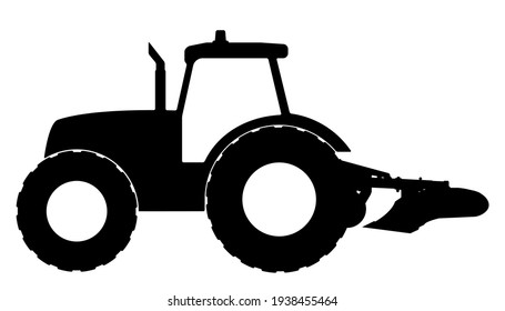 Tractor silhouette on a white background. Vector illustration.