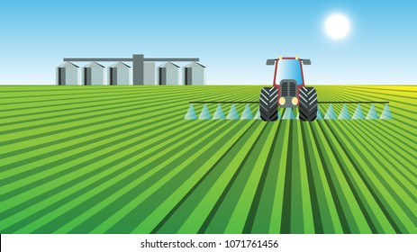 Tractor spraying green crops on cultivated field. Agriculture farming concept