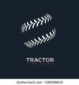 Tractor tire print vector logo. Shop of wheels isolated logotype template