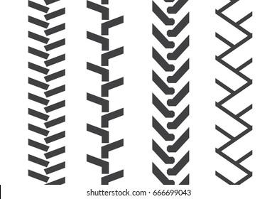 Tractor tread set. Vector seamless pattern