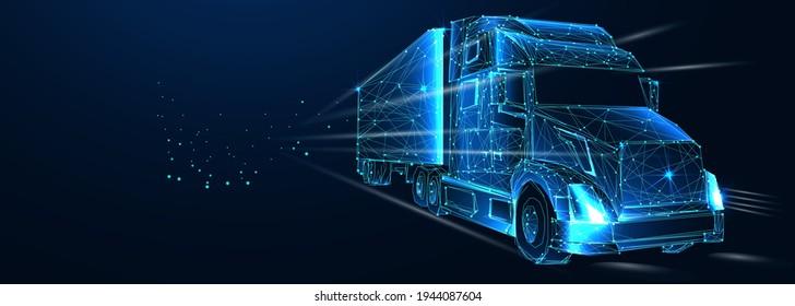 Traktorwagen. Abstrakter Vektor 3d Lastwagen van. Autobahn. Einzeln auf dunkelblauem Hintergrund. Transport, Logistik oder internationales Versandkonzept. Digital Polygonal Low-Poly-3D