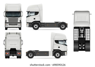 Tractor truck vector mock-up for advertising, corporate identity. Isolated template of white lorry. Vehicle branding mockup. Easy to edit and recolor. View from side, front, back, top.