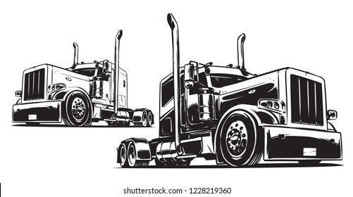 Tractor Unit. Black and White illustration