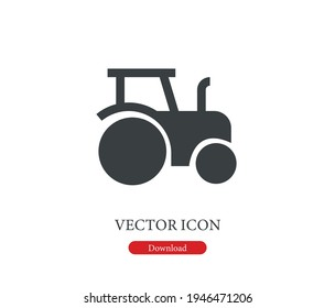 Tractor vector icon.  Editable stroke. Linear style sign for use on web design and mobile apps, logo. Symbol illustration. Pixel vector graphics - Vector