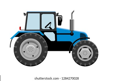 Tractor vehicle vector illustration. Side view of farm tractor