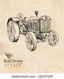 tractor, vintage, element for design, hand drawing, vector