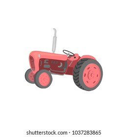 The tractor is vintage. Without background. Isolated