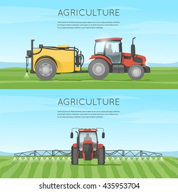 Tractor watering field. Agricultural vehicles. Harvesting. Farm. Processes the earth. Flat design vector illustration.
