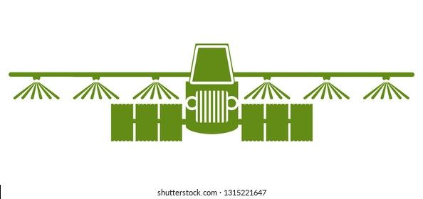 Tractor watering, soil and fertilizing field icon, irrigation tractor icon – stock vector