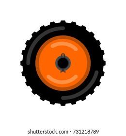 Tractor wheel isolated. Wheel trolley vector illustration