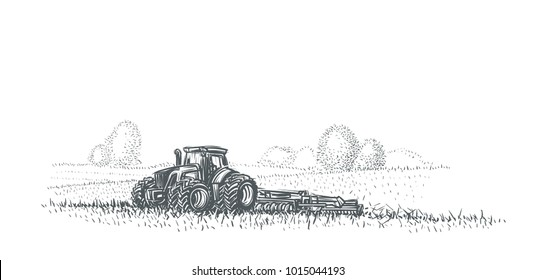 Tractor in working in field illustration. Hand drawn. Vector. eps 10.