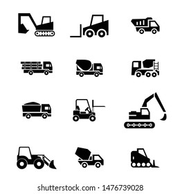 Tractors, bulldozers, concrete mixer construction icons in vector format