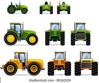 Tractors (Set #41). Set of the car icons in vector.