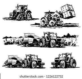 Tractors. Tractor in the field. Hand drawn illstration