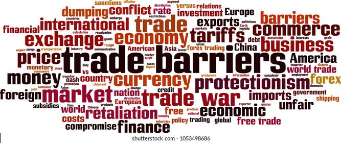 Trade barriers word cloud concept. Vector illustration