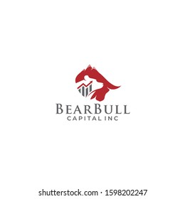 Trade Bull And bear Chart, finance logo. modern eye catching logo. Economy finance chart bar business productivity logo icon. Business analytics. Big Progress Logo Icon Elements.