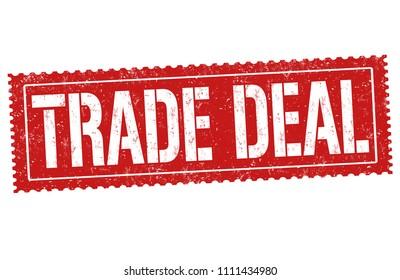 Trade deal grunge rubber stamp on white background, vector illustration