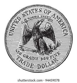 Trade dollar USA / vintage illustration from Meyers Konversations-Lexikon 1897