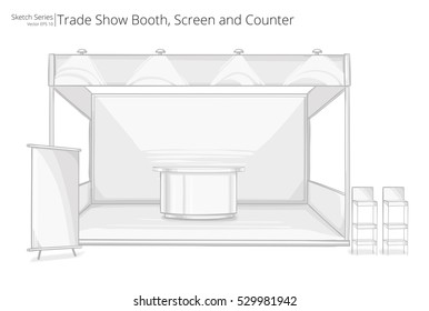 Trade Exhibition Booth. Illustration Sketch of Trade Exhibition Show Booth. Screen and Counter.