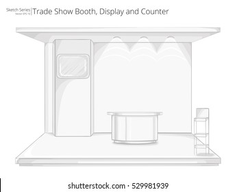 Trade Exhibition Show Booth. Illustration Sketch of Trade Exhibition Show Booth. Display and Counter.