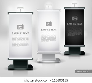 Trade exhibition stand display. Vector.