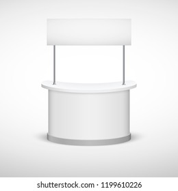 Trade Exhibition Stand mock up isolated on white background. White creative exhibition stand design for Presentation.