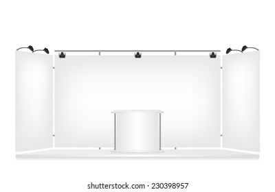 Trade exhibition stand on white background