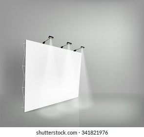 Trade exhibition stand, Exhibition round, 3D rendering visualization of exhibition equipment, Advertising space on a white background, stands with space for text ads, vector