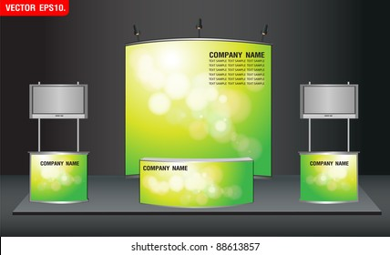 trade exhibition stand and widescreen lcd monitor on promotion counter. with green bokeh abstract light identity background ready for use design work. Vector template