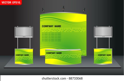 trade exhibition stand and widescreen lcd monitor on promotion counter. with identity background ready for use design work. Vector template