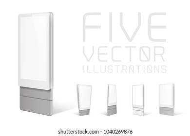 Trade exhibition stands display. Illustrations isolated on white background. Graphic concept for your design