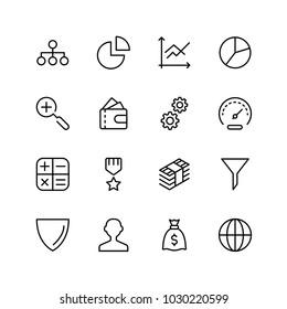 Trade flat icon set. Single high quality outline symbol of info for web design or mobile app. Thin line signs for design logo, visit card, etc. Outline logo of trade