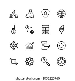 Trade flat icon set. Single high quality outline symbol of info for web design or mobile app. Thin line signs for design logo, visit card, etc. Outline logo of trade