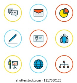 Trade icons colored line set with identification document, pie chart, pen and other pencil elements. Isolated vector illustration trade icons.