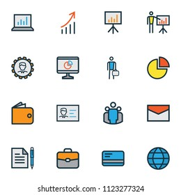 Trade icons colored line set with identification document, debit card, bar diagram and other report demonstration elements. Isolated vector illustration trade icons.